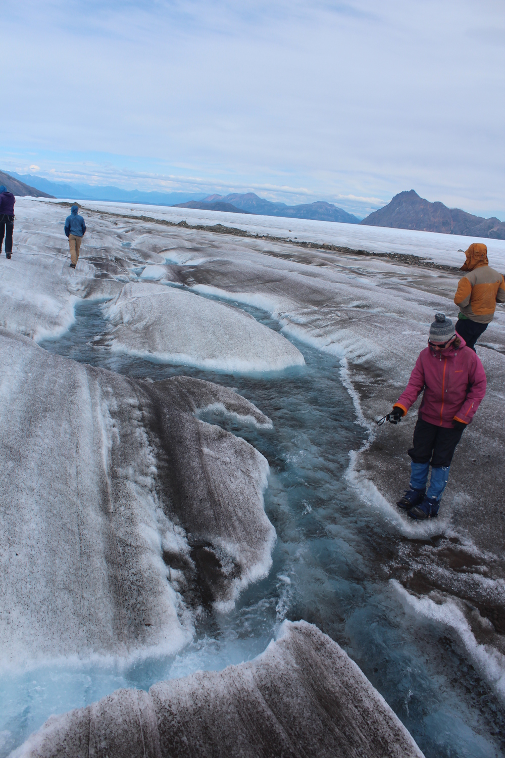 Kim looks at a supraglacial stream.