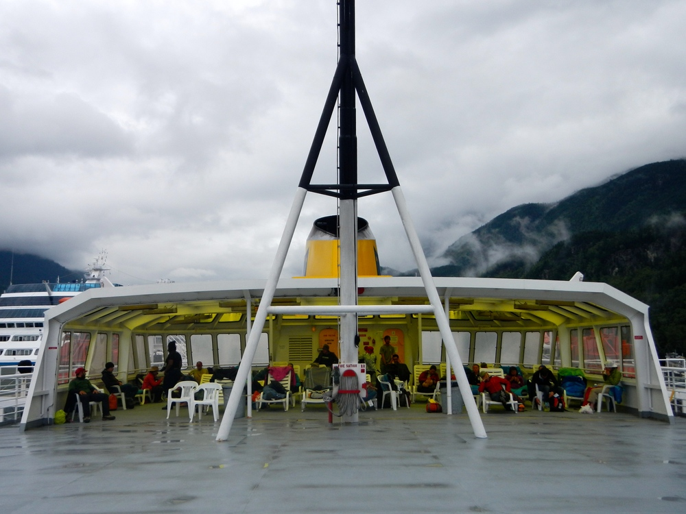 JIRP overtakes the top deck of the ferry from Skagway to Juneau.  Photo by Natalie Raia