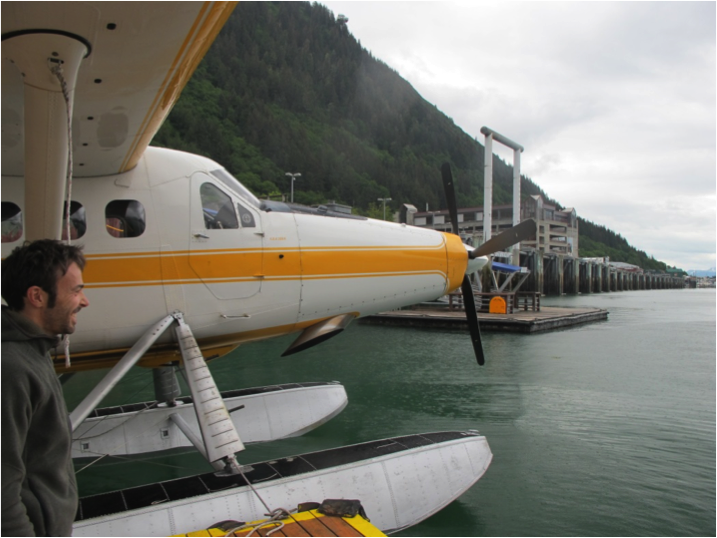 Björn with our floatplane before departing from Juneau. Photo by Allie Strel