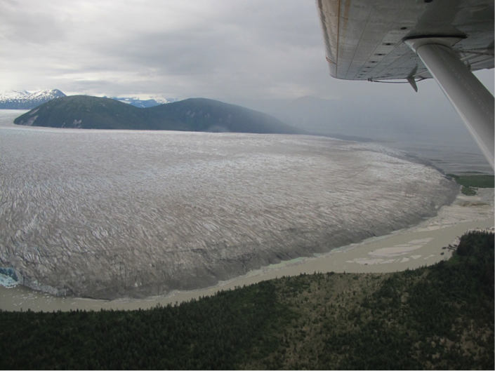 The Taku Glacier terminus from the float plane.Photo by Allie Strel