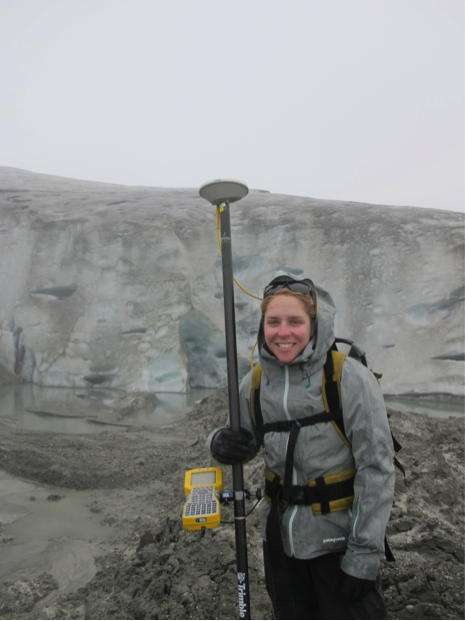 Lara with the survey equipment near the ice terminus. Photo by Allie Strel.