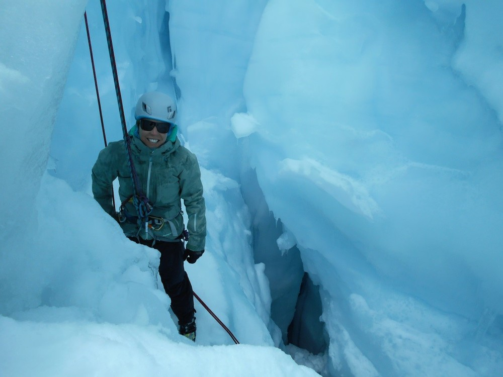 Lara in a crevasse. Photo by Drew Higgins