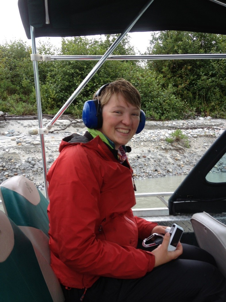 Isabel in the airboat. Photo: Mickey MacKie