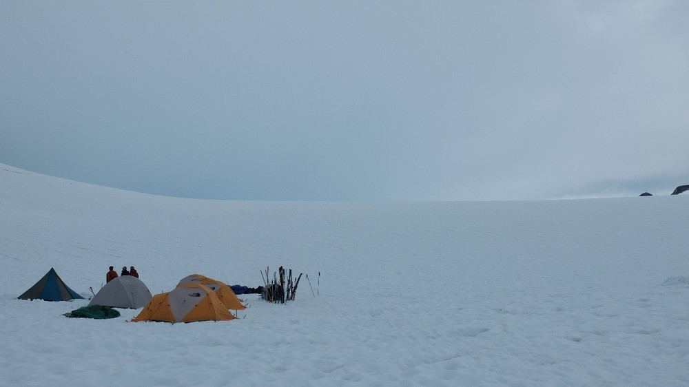 Moving across the icefield: the Norris Cache between camps 17 and 10.