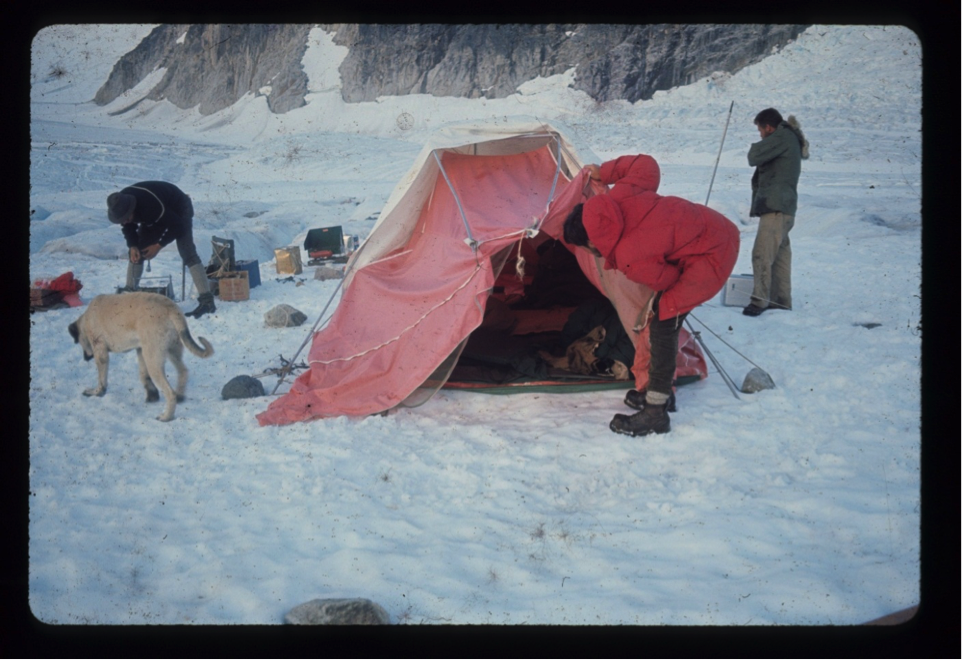 Camping on the wave ogives on the Gilkey Glacier July 29, 1965; Bill Patzert checking the tent, Siggy looking for food, Bill Isherwood checking seismic geophones, and Ty Kittridge smoking his last Picayune cigarette.