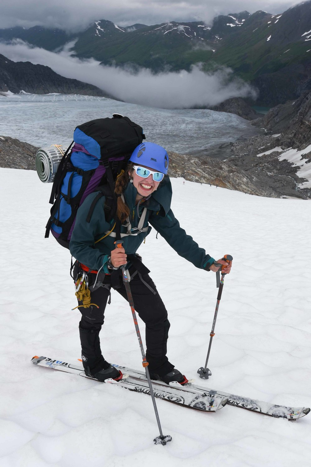 Author Mo Michels on the ski traverse from Camp 17 to Camp 10. Photo courtesy of PBJ Photography