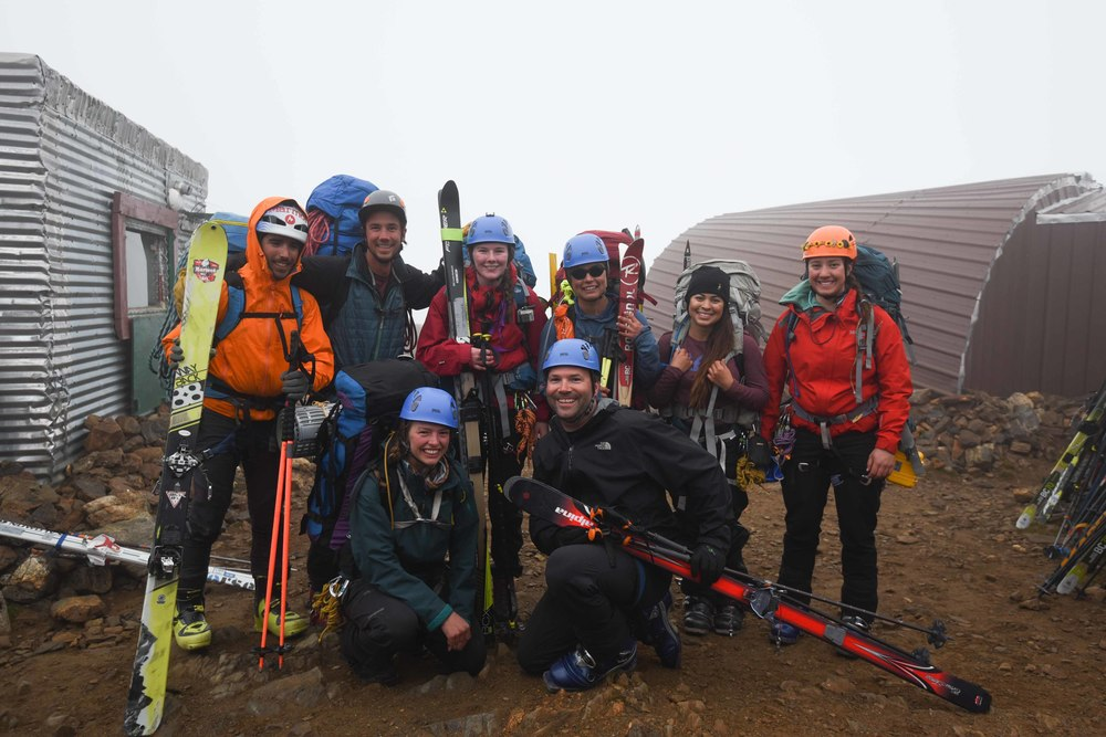 The author, third from left (standing), ready to depart Camp 17 with her trail party...the first team to head out on the traverse this season! Photo courtesy of PBJ Photography