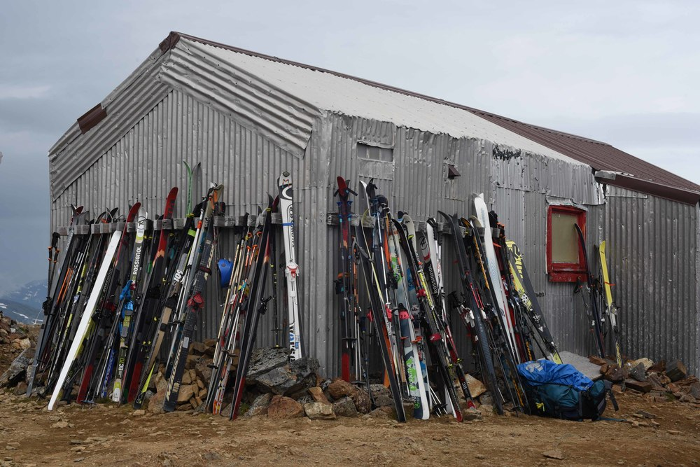 Tools of the trade resting on the flanks of the Staff Shack at Camp 17. Photo courtesy of PBJ Photography.
