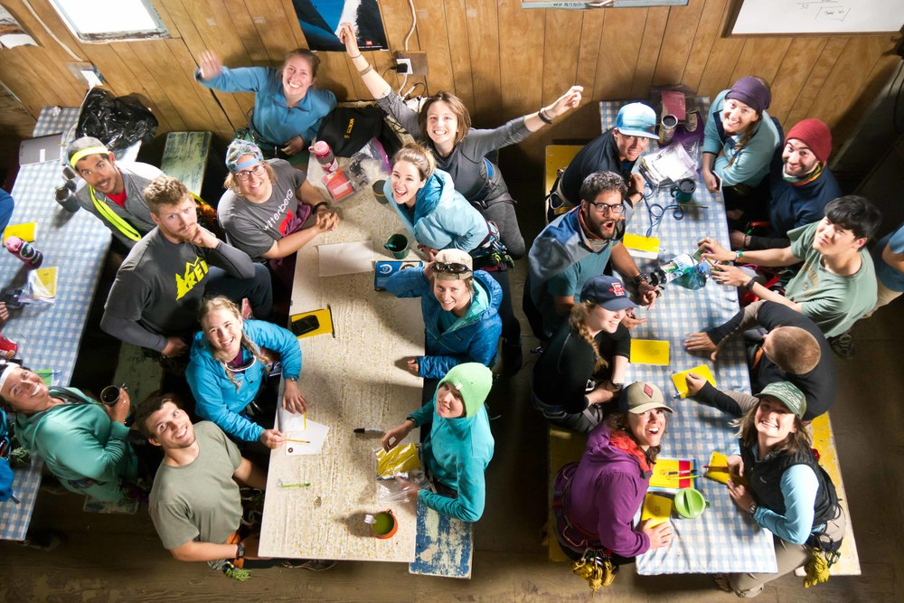 Kristen Lyda Rees and JIRP friends in the Camp 17 cook shack. Photo by M. Beedle.