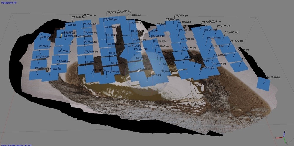 "A screenshot of the 3D image of Lake Linda with the ""Snake Linda"" flight path photo positions marked as blue squares. (Photo credit: Matt Beedle)"