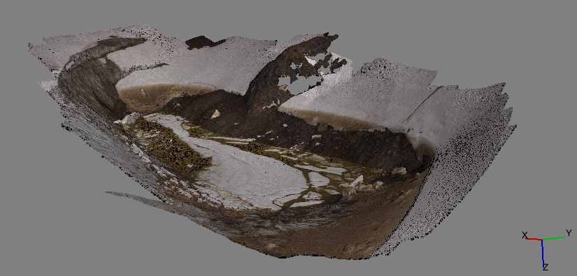 A screenshot of the final 3D image of Lake Linda in Photoscan. (Photo credit: Matt Beedle)