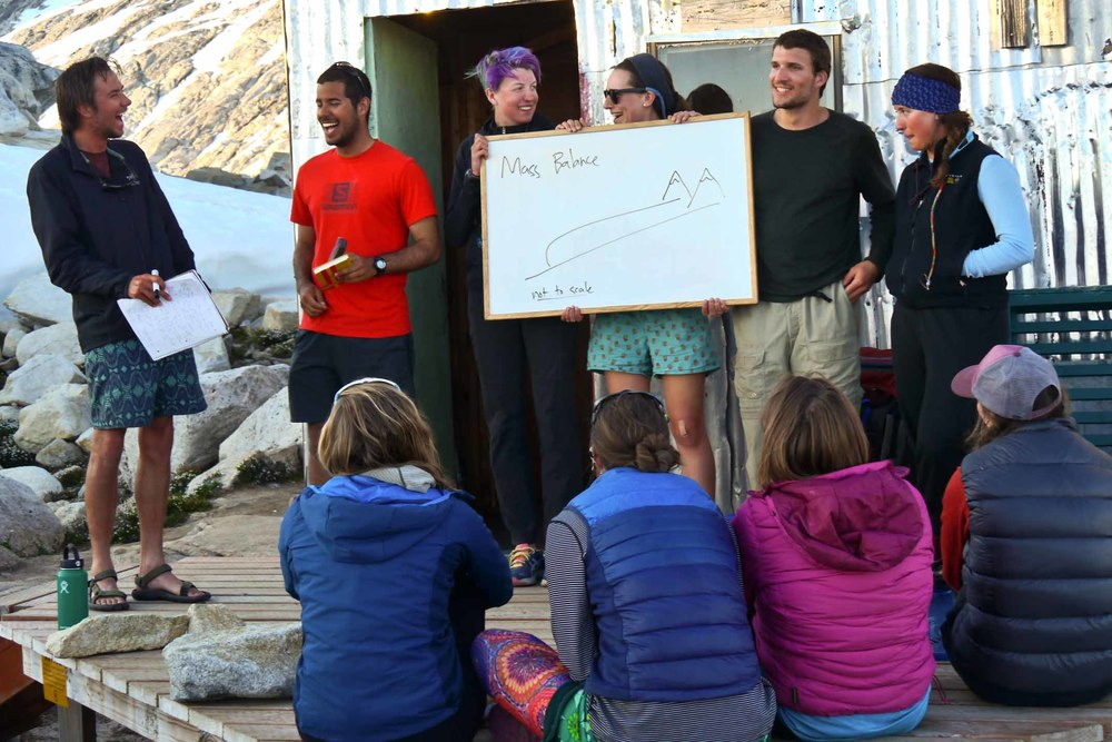 The Mass-Balance Team - Evan Koncewicz, Victor Cabrera, Tai Rozvar, Olivia Truax, Alex Burkhart and Kate Bollen - present their research proposal on the deck at Camp 10. Photo by Matt Beedle.