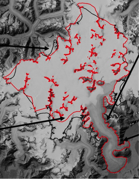 Boundaries of Taku Glacier on the Juneau Icefield. Adapted from a figure by Chris McNeil.