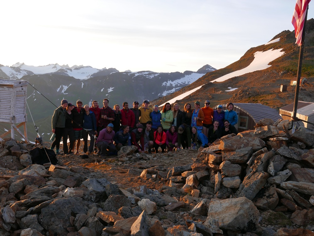 JIRP students stand above the Ptarmigan Valley at Camp 17. Climbing up the Ptarmigan Valley represented the last leg of the traverse to Camp 17. Photo by Paul Neiman