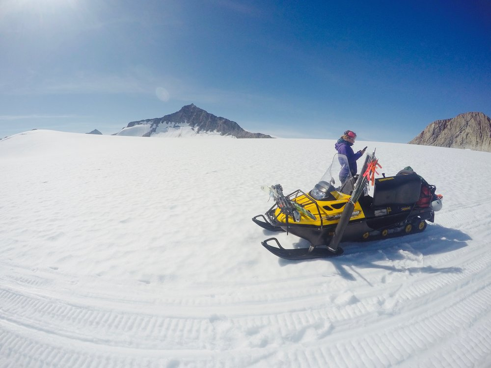 We use snowmobiles as transportation from one profile point to the next. Photo by Brittany Ooman.