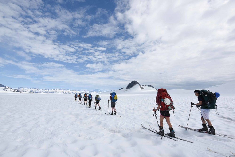 Students traversing the icefield between research facilities. Photo by PBJ Photography.