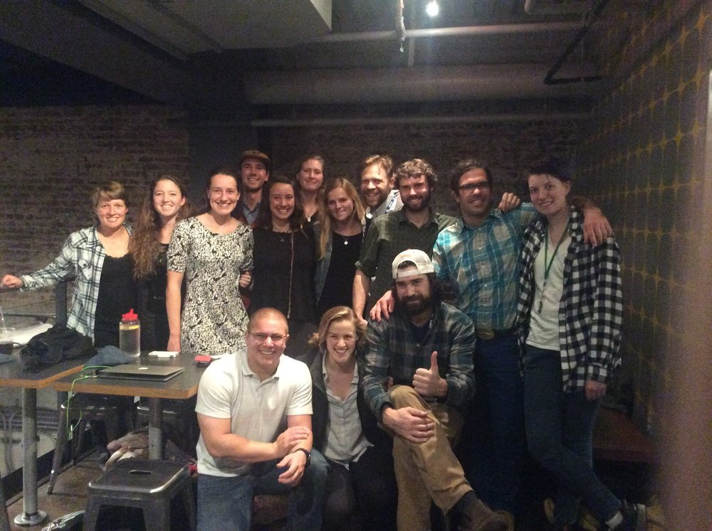 A portion of the JIRP crew at the 2016 AGU Fall Meeting gathers for dinner after a day of science in San Francisco. Back row: Annie Zaccarin, Annie Holt, Olivia Truax, Evan Koncewicz, Kate Bollen, Molly Peek, Deirdre Collins, Matt Beedle, ????, Brad Markle, Tai Rovzar. Front row: DJ Jarrin, Cezy Semnacher, Chris McNeil