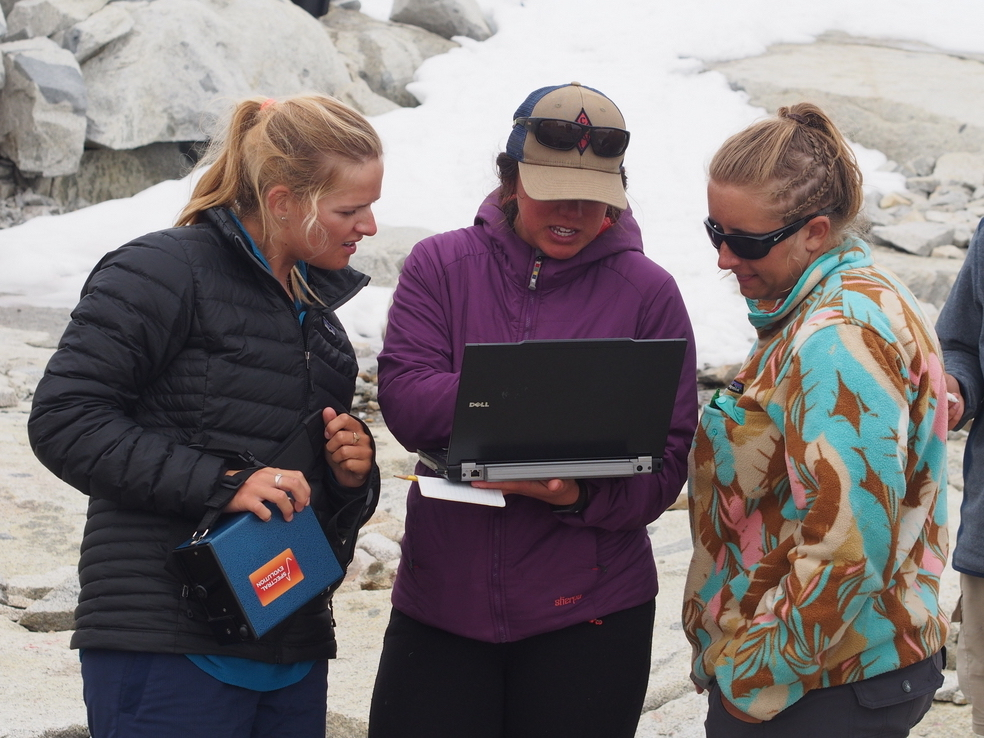 Deirdre Collins, Brittany Ooman, and Kate Bartell discuss reflectance data in the field. Photo by Shawnee Reynoso.