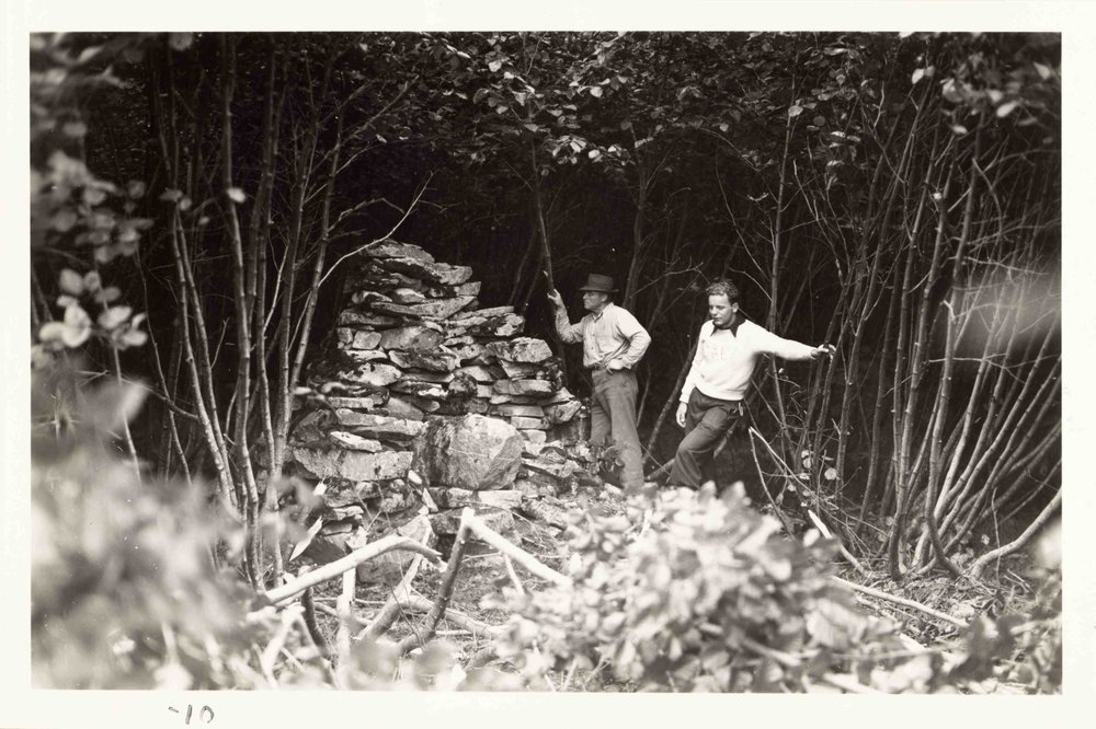 Maynard Miller (right) explores the remnants of the Muir cabin in Glacier Bay during the 1941 expedition led by Bill Field. Source: Field, William Osgood. 1941 No Glacier: From the Glacier Photograph Collection. Boulder, Colorado USA: National Snow and Ice Data Center. Digital media.