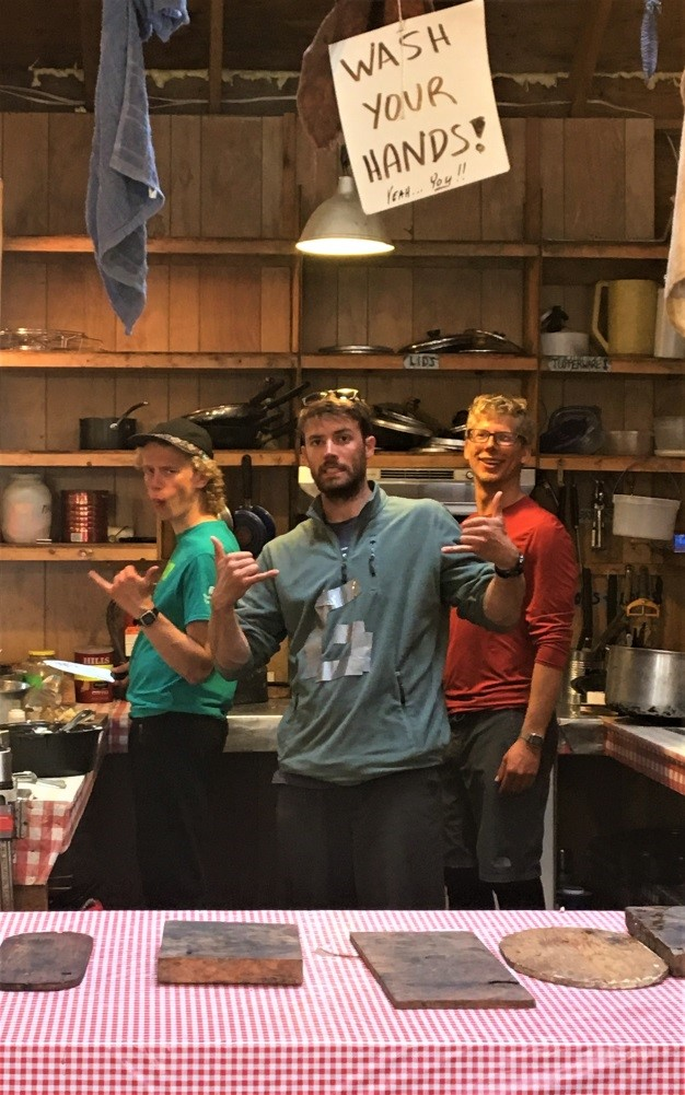 Typical cook crew swagger on display during lunch prep, when energy is at an all-time high. Left to right: Eric, Gavin, and Bryn. Photo credit: Molly Wieringa