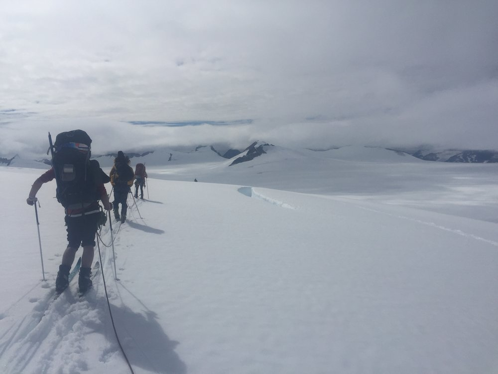 Our rope team, probing our way slowly and safely through the maze of crevasses. Photo: Amy Towell.