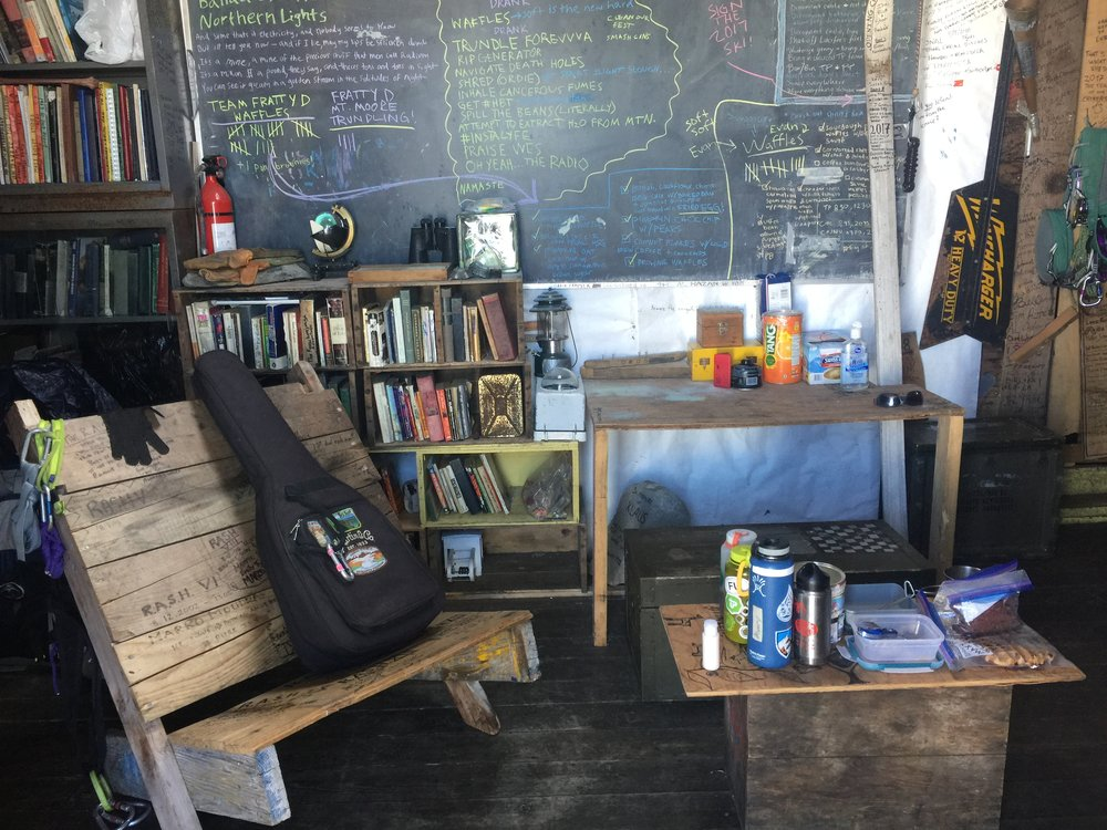 A view of the C8 living space and the carefully managed chalkboard with our waffle tally. Photo: Amy Towell.