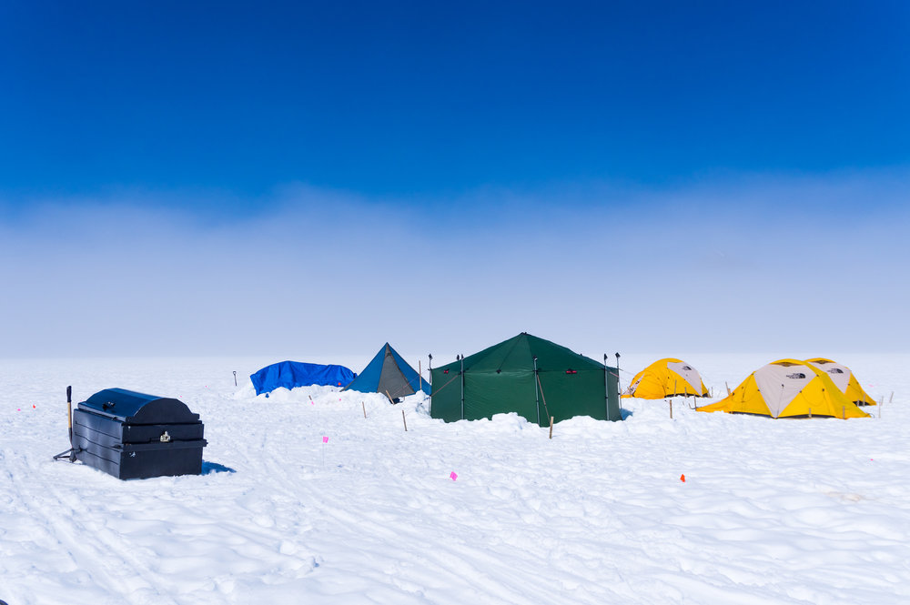 A remote glacier camp. The Geophysics student research group camped here for two nights while collecting data several miles from a major camp. Students spend 2-5 nights total at a camp like this, the vast majority of nights we all sleep in a major, permanent camp. PC: Daniel Otto.