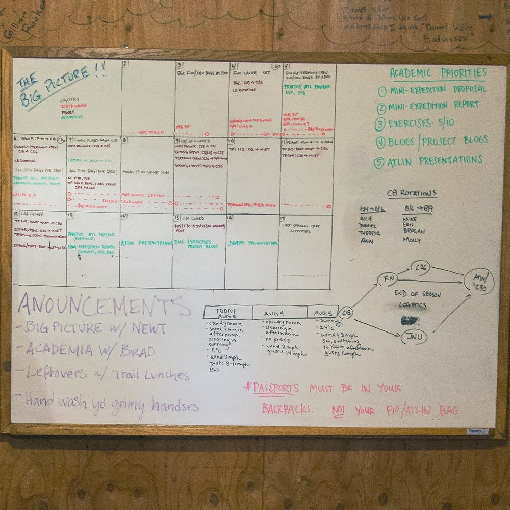 Scheduling whiteboard. PC: Ben Huff.
