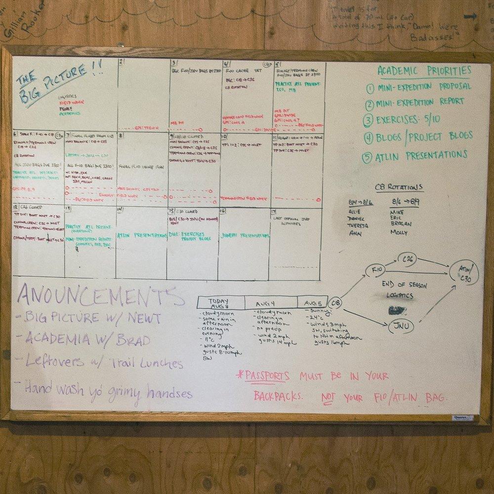 Scheduling whiteboard. PC: Ben Huff.