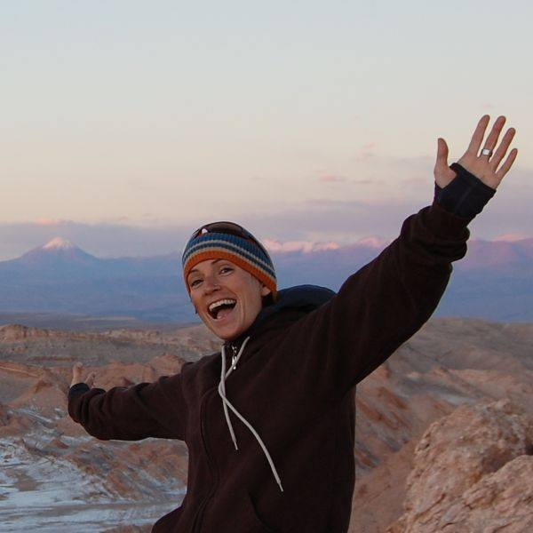 Lindsay loving the Atacama Desert sunset.