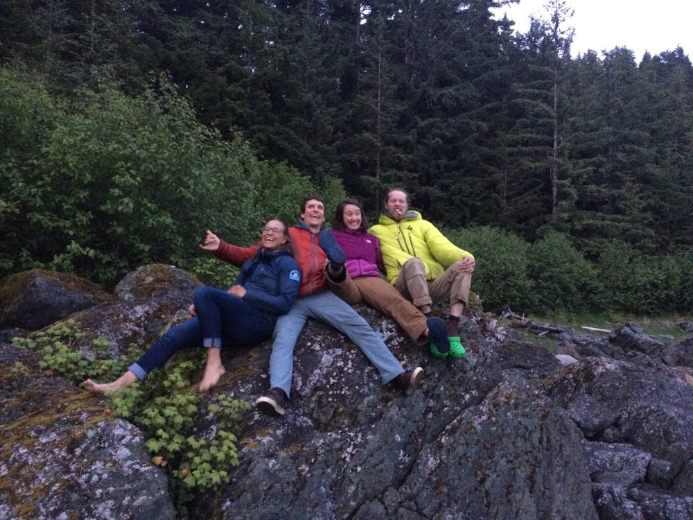 Staffers Allie Strel, Alex Burkhart, Kate Bollen, and Nigel Krumdieck enjoy some goofiness at Eagle Beach after a post-dinner sunset walk.