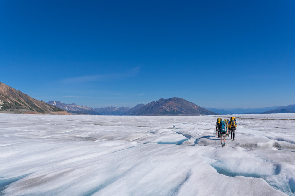 A trail party hikes out of the supraglacial streams and bare, blue ice of the lower Llewellyn Glacier on their way to Atlin Lake. Photo: Daniel Otto.