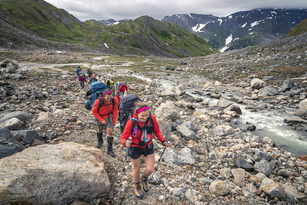 Everyone who comes to Block 1 hikes between Juneau and Camp 17 (we avoid transporting personnel via helicopter). The trail up to Camp 17 is a hiking trail (no skiing or cramponing) and covers a variety of terrain from temperate rainforest, through the rocky periglacial zone, and finally up onto the Ptarmigan Glacier itself. Photo: Andrew Opila.