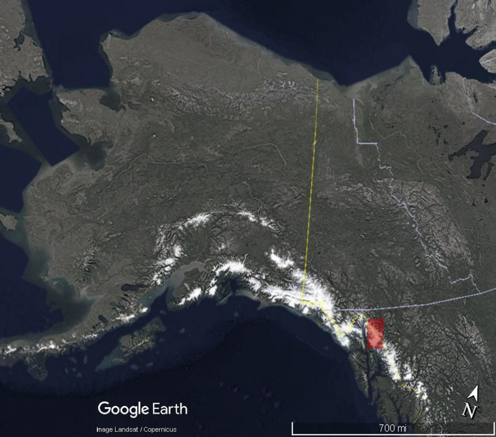 Location map of the Juneau Icefield, in the Coast Mountains, straddling the border between Southeast Alaska and northwestern British Columbia.