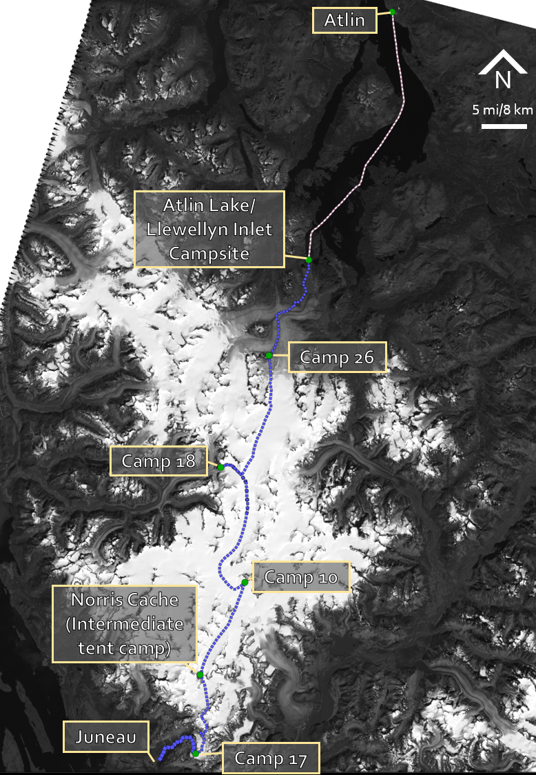 A map of the Juneau Icefield traverse and the major Icefield camps. Credit: Allen Pope.