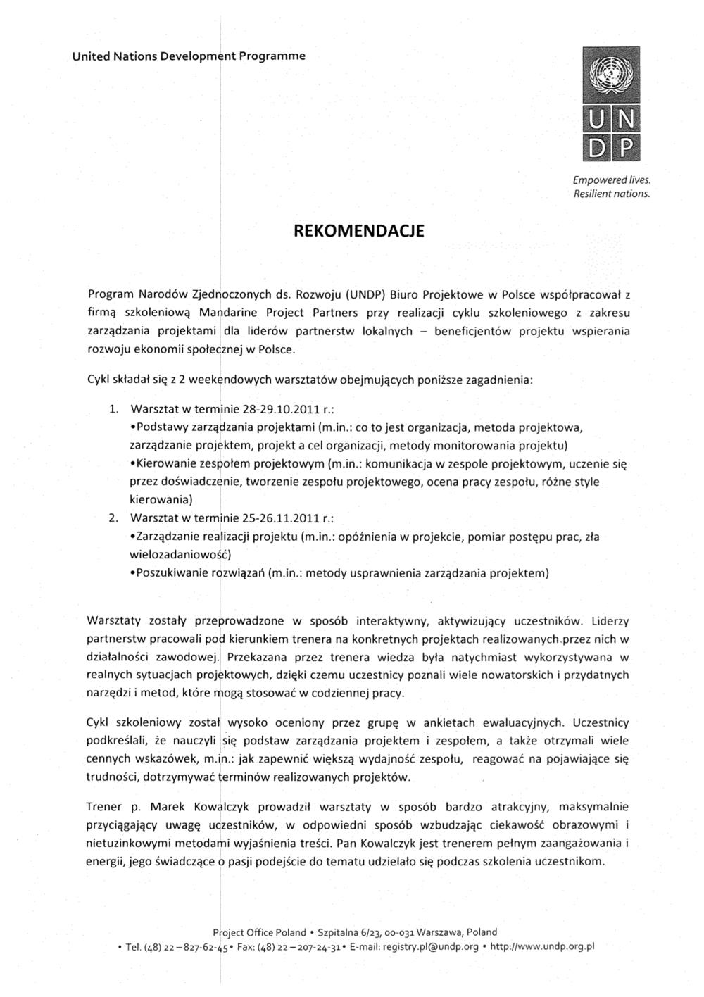 Referencje UNDP