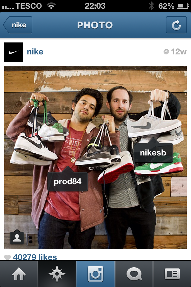 Nike tags a photo on Instagram using the Photos of You feature.