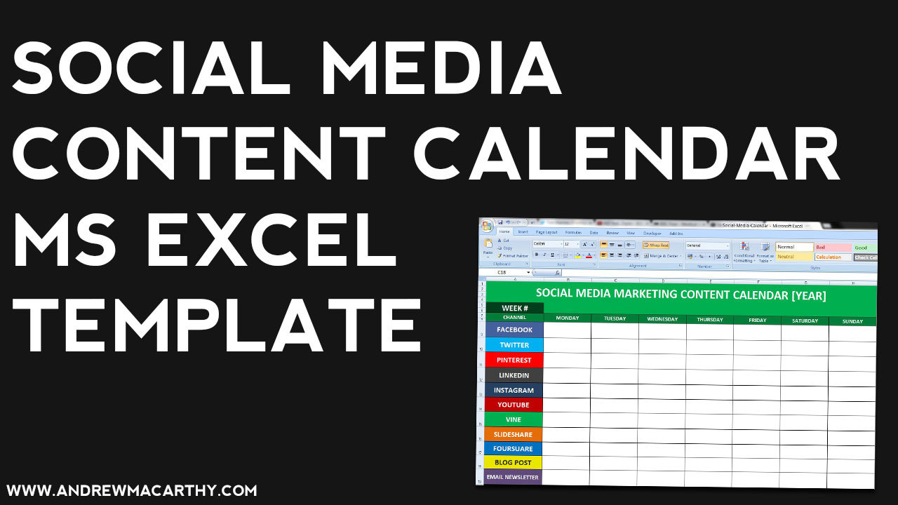 Social Media Content Calendar Template Excel Marketing Editorial