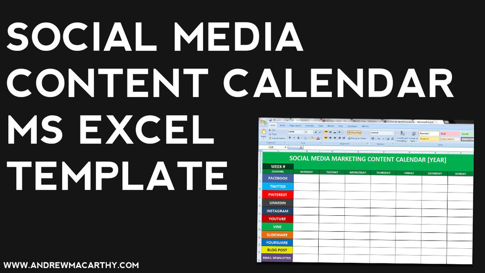 Social Media Content Calendar Template Excel | Marketing Editorial