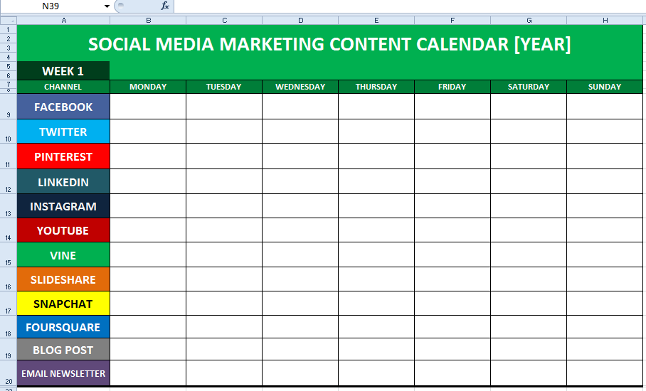 Social Media Content Calendar Template Excel Marketing Editorial - Social media content strategy template