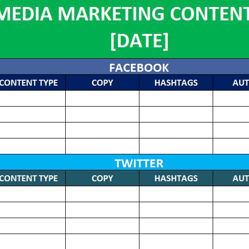 Social Media Calendar Template Trattorialeondoro
