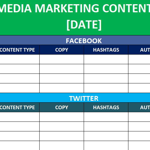 Social Media Calender Template Excel 2014