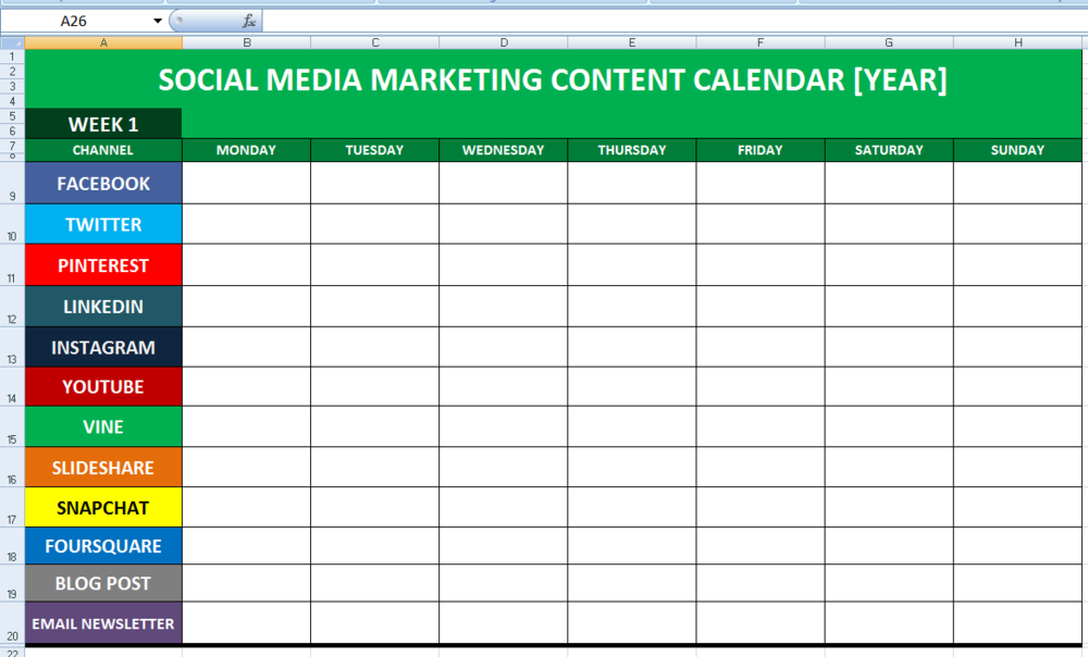 Social Media Planning Calendar Template - Content marketing schedule template