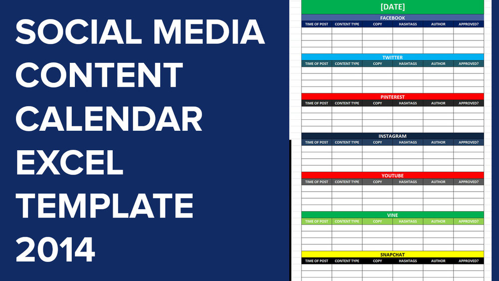 Social Media Calender Template Excel 2014 | Editorial Planner For