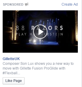 An example of a Right Column Facebook video ad.