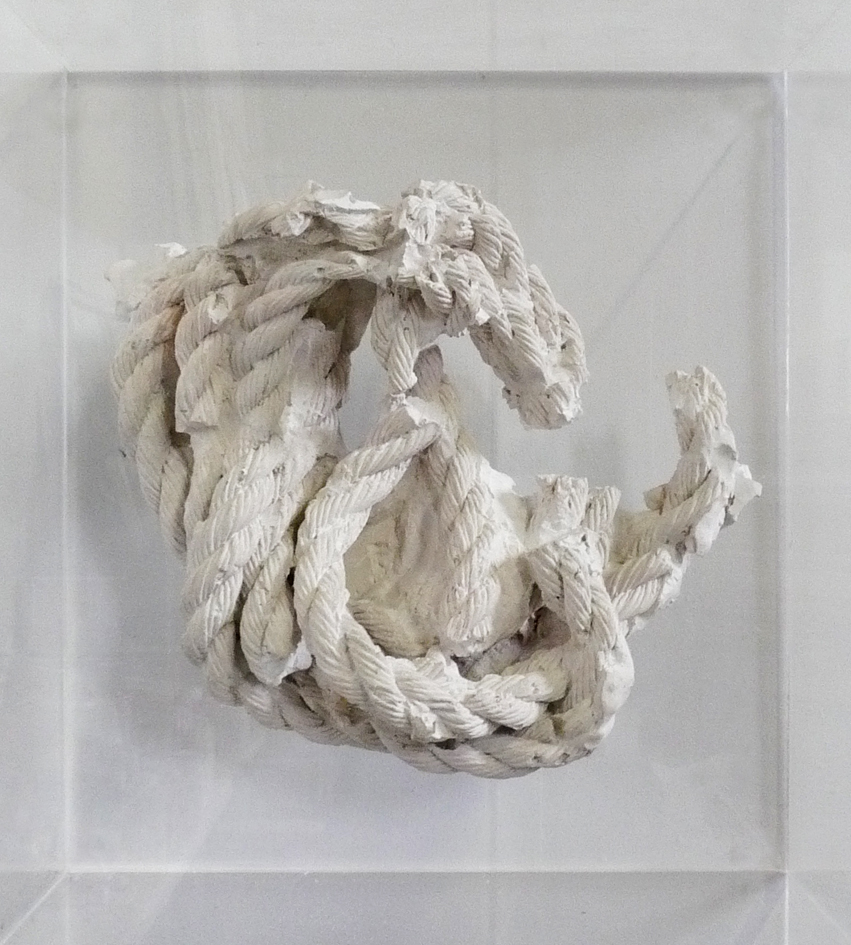"""Double Portrait, Linda Montano, Tehching Hsieh And a Fourth Hand, #1""2012   8- Foot Plaster Rope Replica In Plexiglas Box (17.5x13.5x19.5"")"