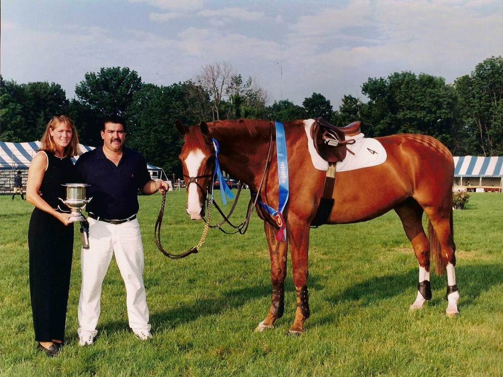 After winning the Jerry Johnson Cup three out of four times David retired the Cup, presented by Jennifer Glass to David and Lauren Habermann's New Recrui. David has continued to win two years in a row the Old Salem Farm Groom's Class with Jeanne Fogel's elegant Castelli.