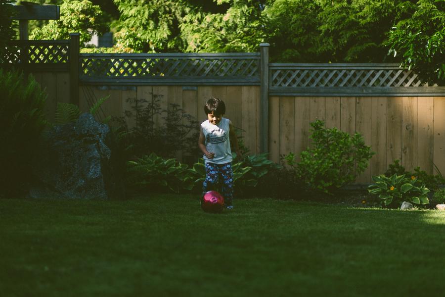 6:30PM - a little post bath soccer.