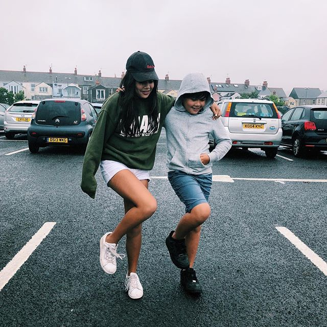 These two have been pretty great to travel with....here they are making the most of a pouring rain day in Wales.