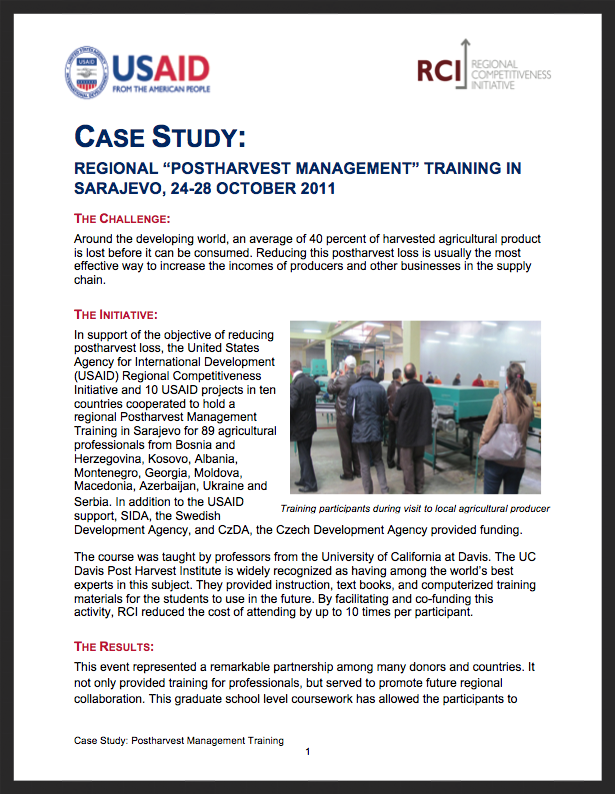 RCI Case Study: Postharvest Management Training